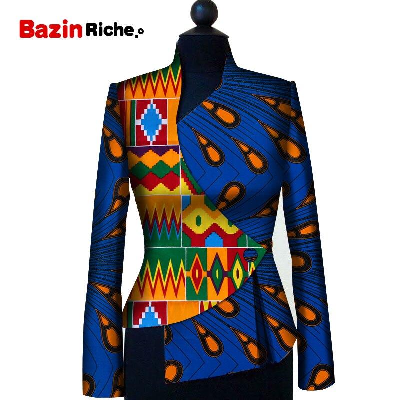 African Clothing for Women Dashiki Print Trench Coat Overcoat Women Basic Coats Ankara Fashions Long Sleeve Slim Trench WY5766
