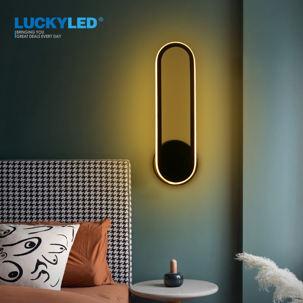 LUCKYLED-مصباح حائط Led دوار 330 درجة ، مصباح حائط لغرفة النوم ، 12 وات تيار متردد 85-265 فولت ، مصباح شمعدان إسكندنافي لغرفة المعيشة ، تصميم جديد
