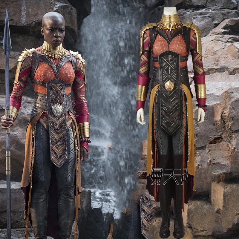2018 disfraz de Okoye de Pantera Negra Cosplay vengadores Infinity War Okoye disfraces de Halloween carnaval contacte con nosotros para tallas de zapatos