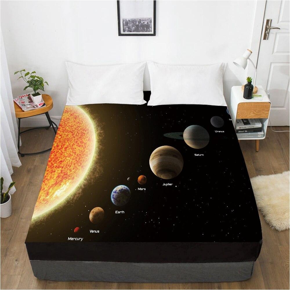 ملاءة سرير ملاءة غالاكسي مزودة شريط مرن 150x20 0/180/200/160*200 غطاء مرتبة غطاء السرير المريخ الأسود
