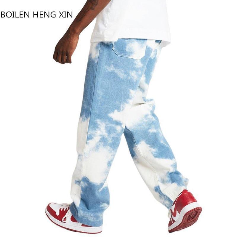 Мужские прямые джинсы с завязкой, синие брюки, комфортные эластичные брюки-стрейч, свободные прямые брюки, повседневные спортивные джинсы в...