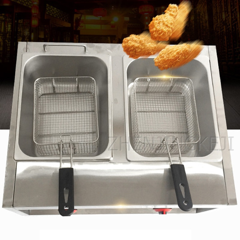 Commercial Gas Double-cylinder Fryer Fry Pan French Fries Machine Fried Chicken Oven Frying Equipment 2500W Food Processor Tools