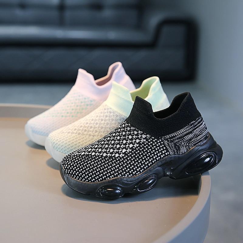 Детские однотонные вязаные туфли, повседневные кроссовки для мальчиков и девочек, Уличная обувь, Нескользящая дышащая модная детская обувь для бега, Новинка|Кроссовки| | АлиЭкспресс