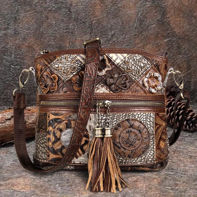 كوبلر ليجند حقيبة نسائية بوهيمية جلد أصلي مصمم بالورود حقيبة كتف فخمة للسيدات مزينة بشراشيب حقائب يد كلاسيكية