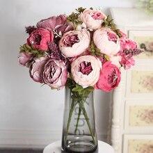 50cm Pink Silk Peony Artificial Flowers Big Bouquet Arrangement Fake Flower White DIY Home Hotel Party Wedding Decoration Wreath
