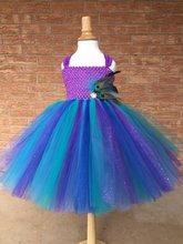 Vestido tutú de flor de plumas de pavo real para niñas vestido de tul con purpurina de ganchillo para niños fiesta de cumpleaños disfraz de banquete vestidos de Cosplay