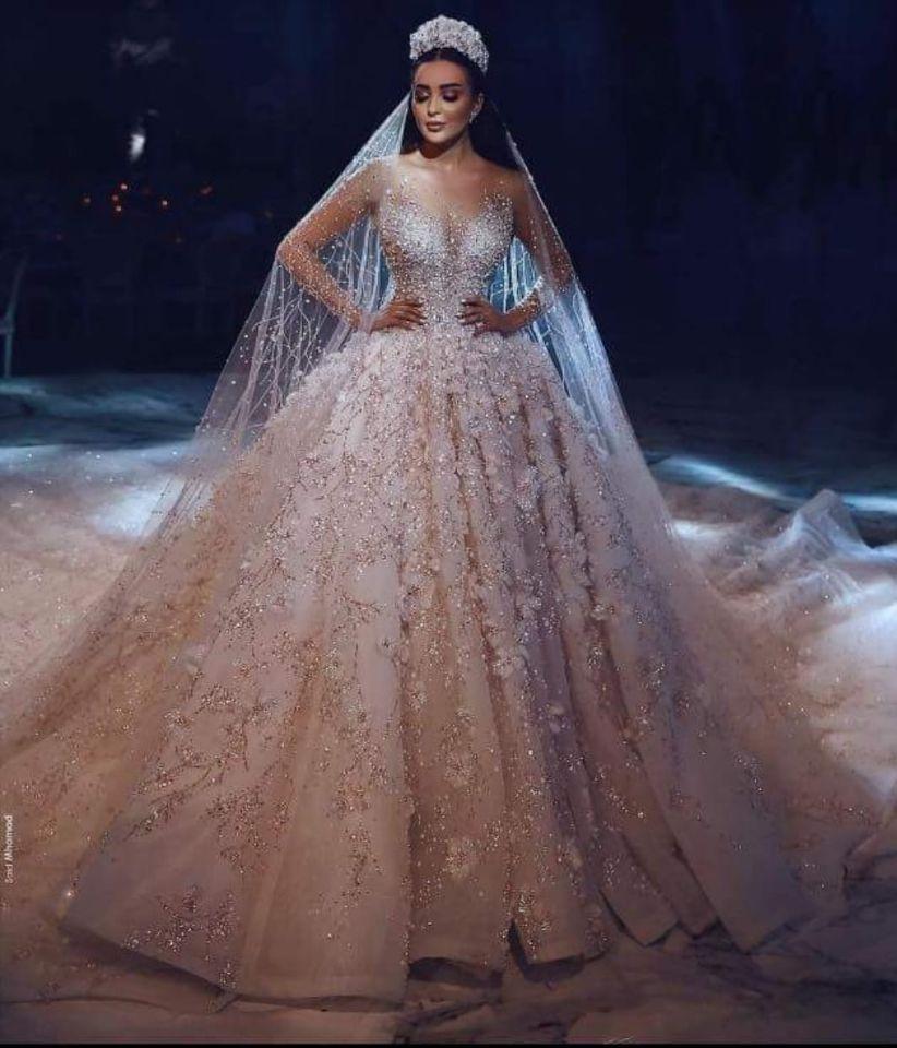 Amanda Design Dubai Royal Long Sleeve Lace Applique Crystal Flowers Wedding Dress Luxury свадебное платье vestidos de novia