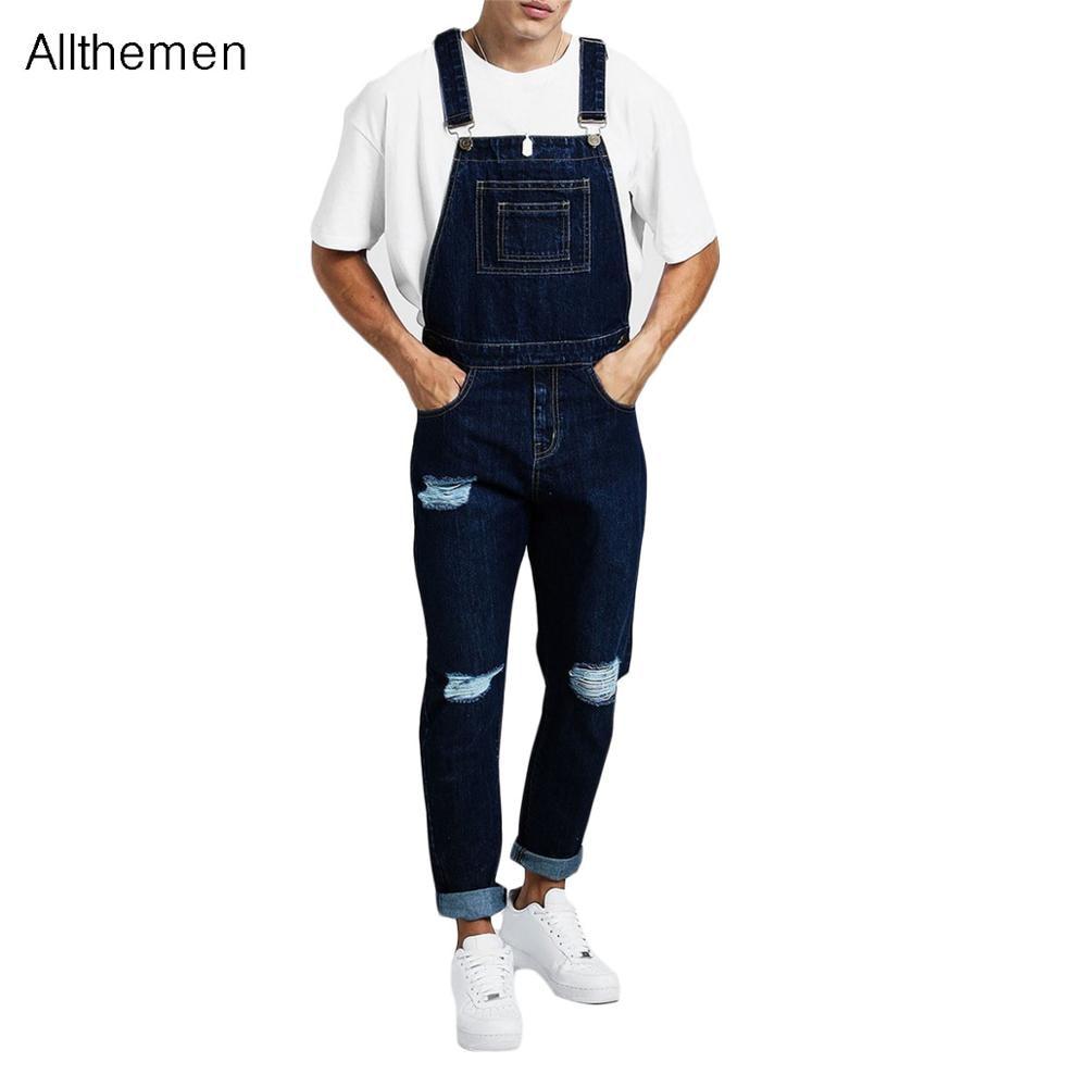 Pantalones vaqueros Allthemen para hombre, monos vaqueros para hombre, Pantalones vaqueros casuales de color sólido, monos largos, Pantalones azules para hombre, Pantalones con tirantes