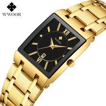 WWOOR 2021 New Top Brand Luxury Gold Black Men Watch Fashion Business Quartz Waterproof Calendar Wri