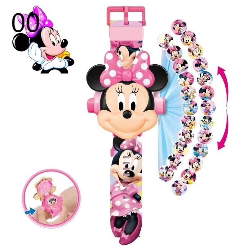 Disney Mickey Minnie Children's Watches The 3D Projection Cartoon Spiderman Hulk Princess Digital Kids Toy Watch birthday gifts