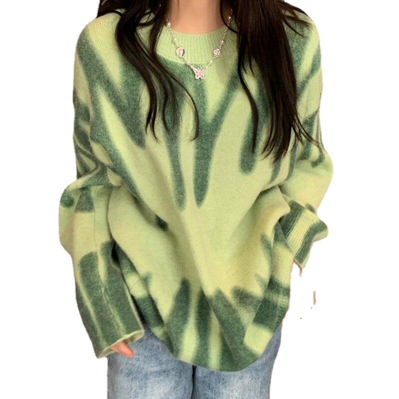 Женский свитер с принтом на осень и зиму, новинка 2021, пуловер, корейский свободный свитер, пальто, свитер для женщин