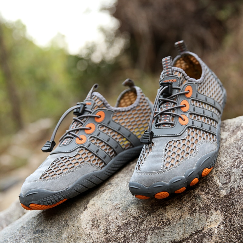 Fetchmous Summer Solid color Breathable Men Women Wading Hiking Shoes Mesh Outdoor Sport Sneakers So