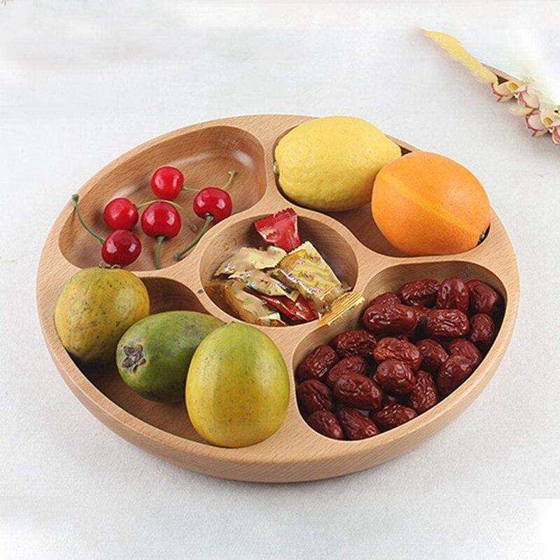 Деревянные закуски, сервировочное блюдо бытовой 5 отделений закуски тарелка для сухих фруктов конфеты поднос круглый разделены блюдо лоток-1