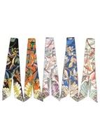new design luxury ladies scarf fashion multifunction tied bag wrap scarf ladies turban wrist scarf small silk headband bs03