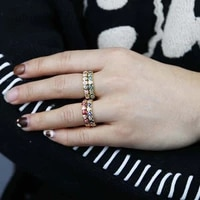 wholesale lucky evil eye cz eternity band ring engagement enamel colorful stack finger rings for women wedding jewelry gift