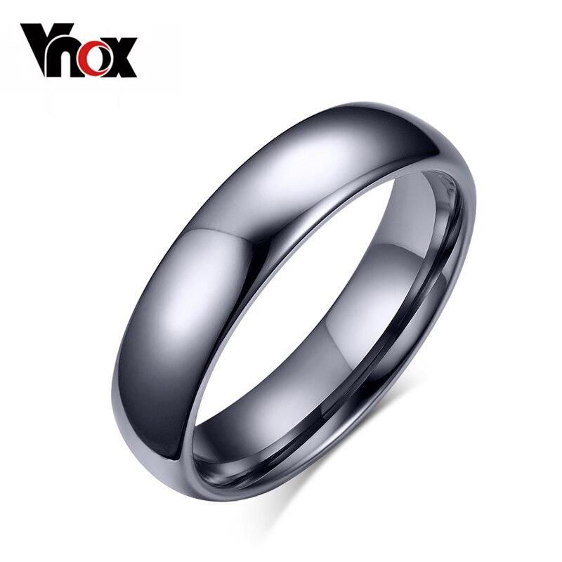 Vnox anel de tungstênio para mulher masculino 4mm/6mm cor original clássico casamento jóias polimento liso
