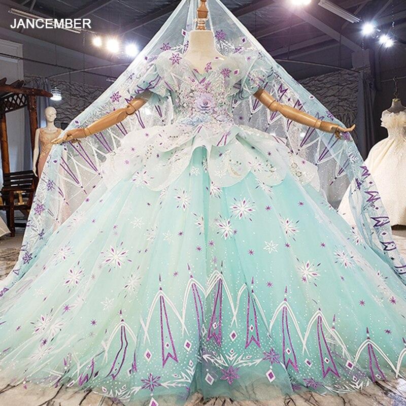 HTL0681 الأزرق زين طباعة تصميم الأطفال فستان الزفاف 2021 الأطفال وصيفه الشرف مأدبة فستان الزفاف