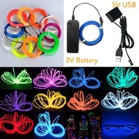 5m led neon glow el wire light string rope cable with 3v 5v usb battery powered controller for car party club dancing diy decor