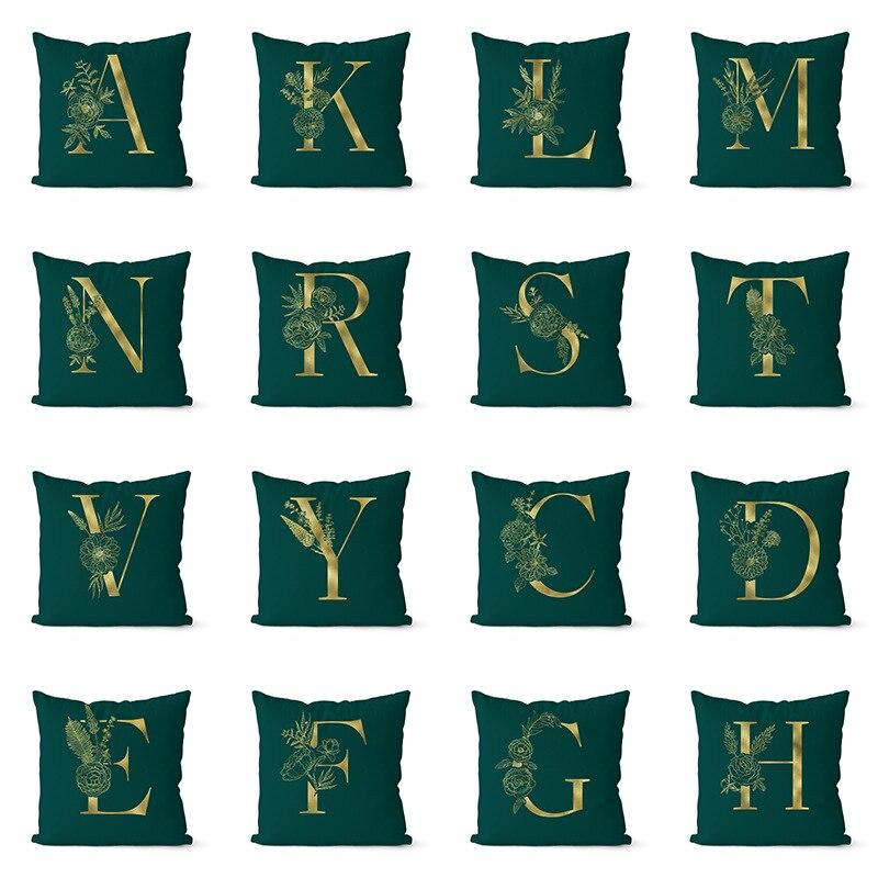 Oro nuevo alfabeto inglés, funda de Almohada Verde, estampado Floral, creativa funda para cojín de sofá, sala de estar, dormitorio, cojines decorativos