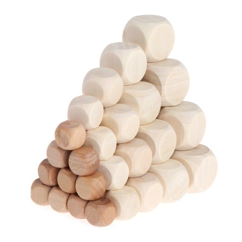 10 pièces 6 faces blanc bois dés fête famille bricolage jeux impression gravure enfant jouets 24BD