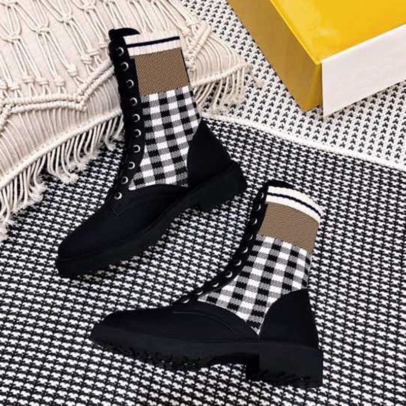New Black Gingham Boots Spring Autumn Brand Design Round Toe Leather Women Shoes Vintage Fashion Fem