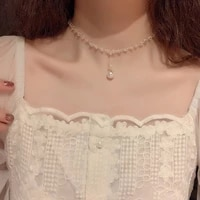 huge bud fashion necklace rhinestone pearl choker women elegent collares for girl trendy jewelry short chain collier gift