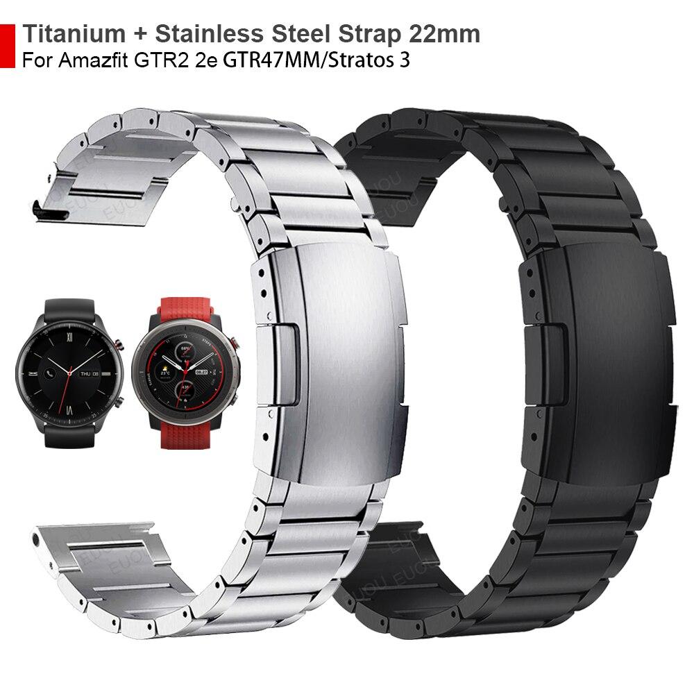 22 مللي متر التيتانيوم + المعادن الصلب المشبك حزام ل Huami Amazfit GTR 2 2e/GTR 47 مللي متر/ستراتوس 3 حزام (استيك) ساعة معصمه سوار مربط الساعة