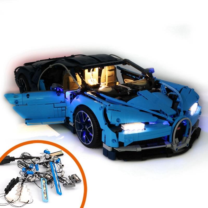 Opq-traje de luz para (Bugatti Chiron) Modelo de bloque de construcción-Kit de luz Led