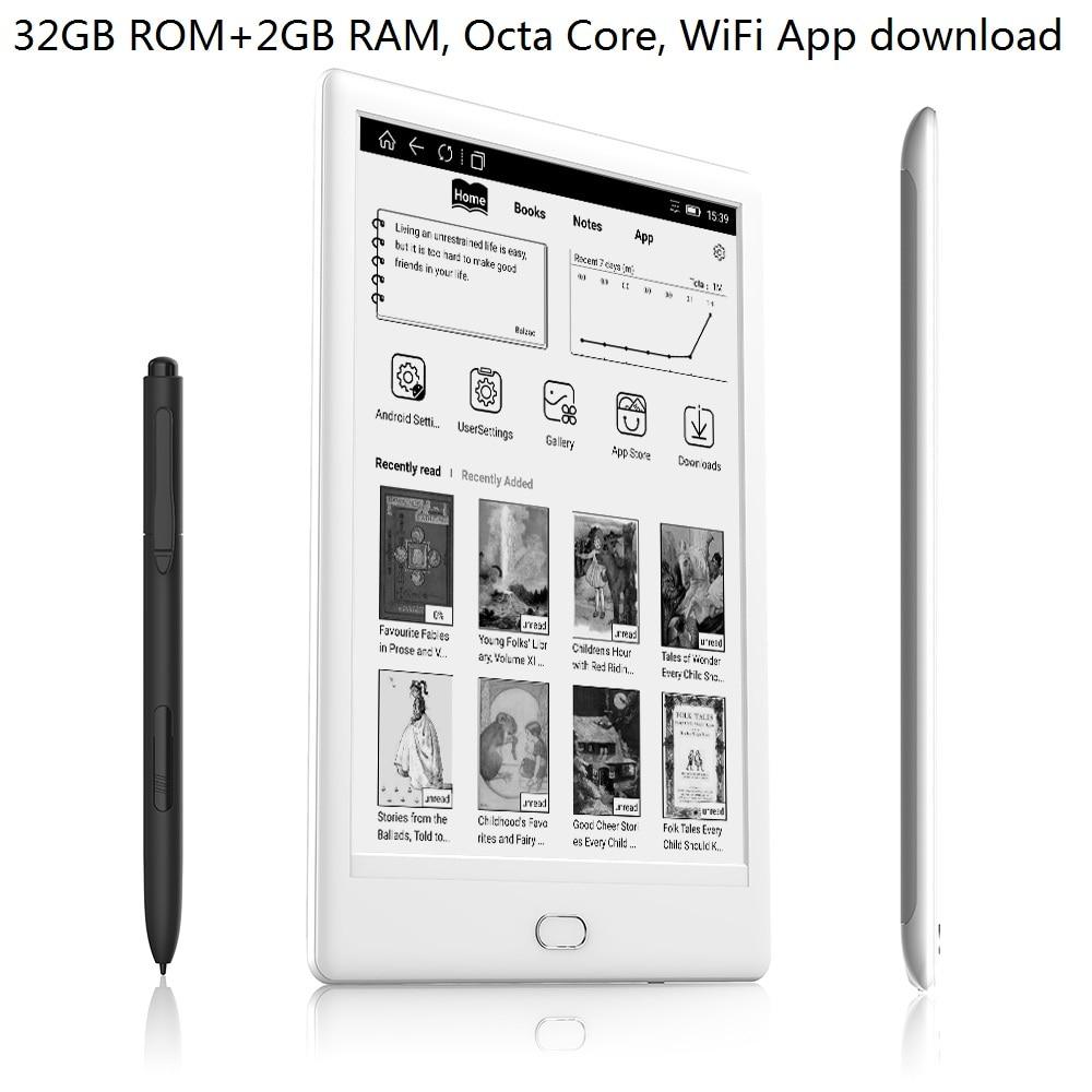 واي فاي 32GB قارئ الكتاب الإلكتروني 7.8 بوصة تعمل باللمس المزدوج 300pie HD شاشة E الحبر قارئ الصوت ثماني النواة أندرويد E القارئ مع القلم + سماعة