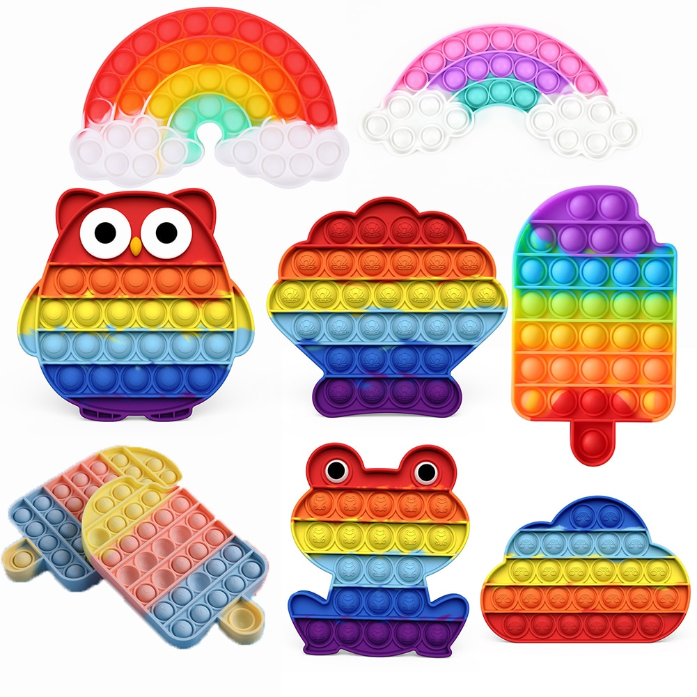 Rainbow Push Bubble Fidget Sensory Toy Autism Special Needs Fidget Squeeze Anti-stress Stress Reliever Toys for Kids Board Game