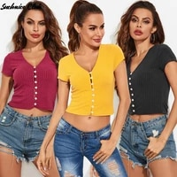 sexy slim fit deep v neck single breasted ribbed short sleeved t shirt solid color cardigan casual t shirt