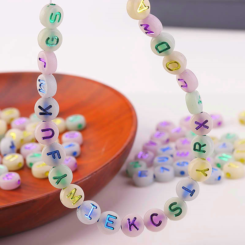 Mixed Fluorescence Letter Acrylic Beads Round Flat Alphabet Loose Spacer Beads For Jewelry Making Handmade Diy Bracelet Necklace  - buy with discount