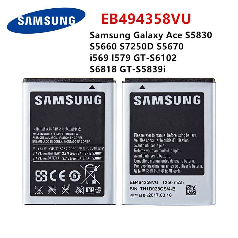 SAMSUNG original EB494358VU 1350mAh batería para Samsung Galaxy Ace S5830 S5660 S7250D S5670 i569 I579 GT-S6102 S6818 GT-S5839i