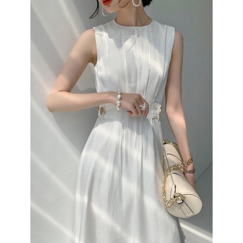 Vestido elegante coreano de oficina para mujer, vestido sin mangas de cintura...