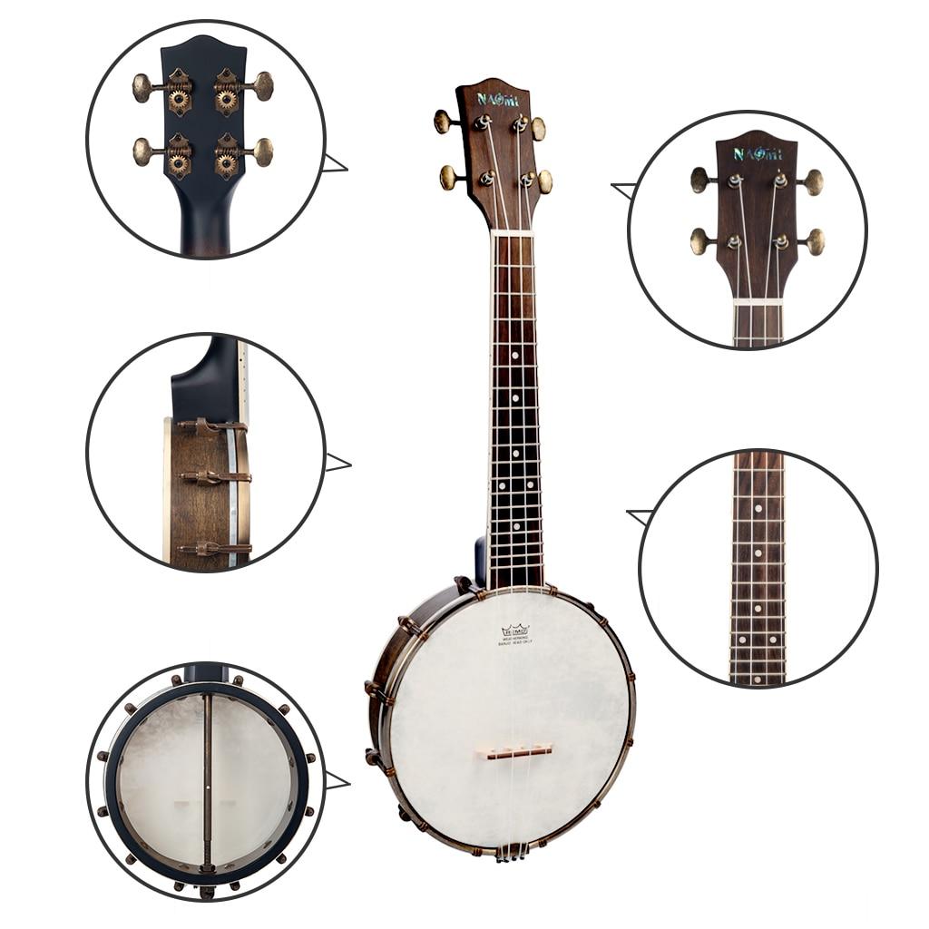 NAOMI Banjolele Banjouke Concert-Scale Banjo Ukulele Vintage Copper Accessories Maple Neck W/ Gig Bag enlarge