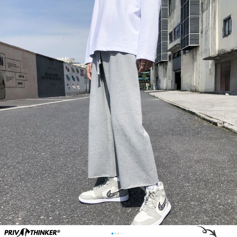 Privathinker masculino cor sólida calças retas outono inverno 2020 estilo coreano homem solto moletom masculino streetwear calças largas