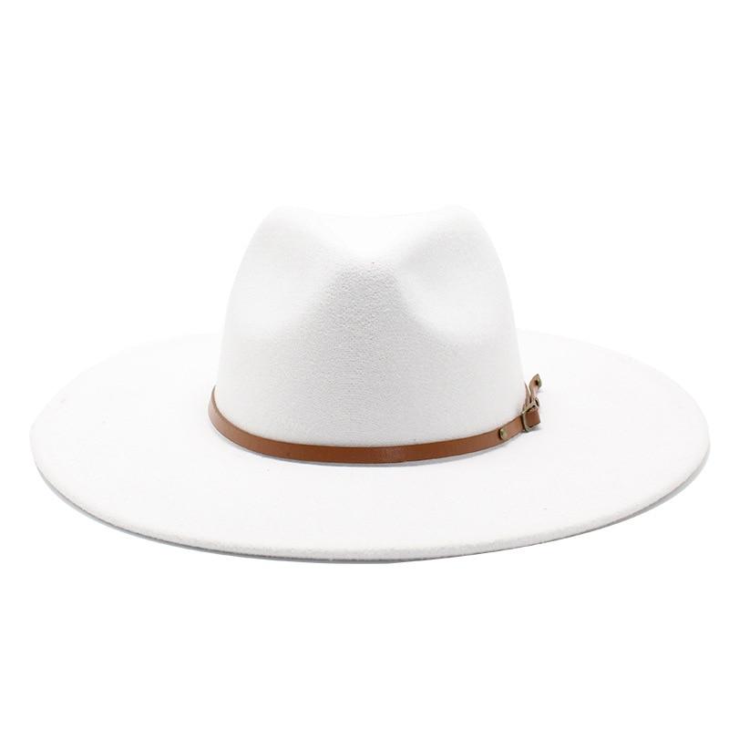 Quality Big edge wool Fedora Hat Women Men Imitation Wool Felt Hats with Metal Chain Decor Panama Fe