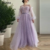 booma lavender hearty prom dresses long puff sleeves a line prom gowns with pockets ruffles sheer neckline wedding party dresses