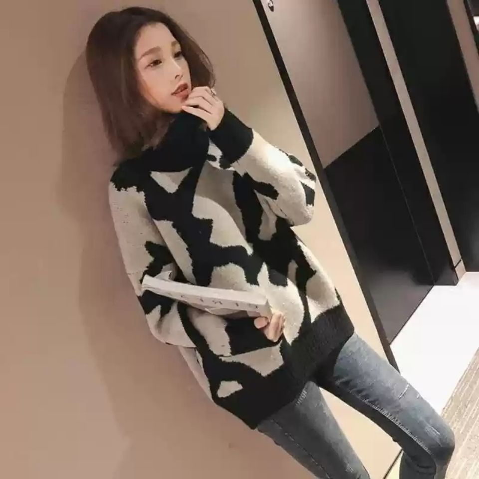 New Korean high collar Leopard Print Long Sleeve Pullover net red sweater for women in winter 2020 enlarge