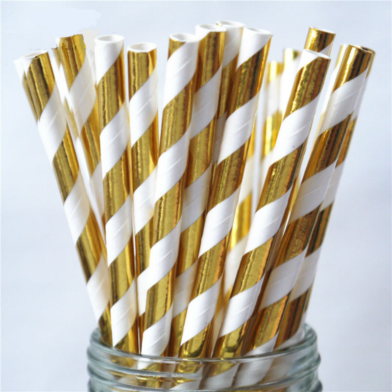 Envío Gratis, 1000 Uds., pajitas de papel metálicas doradas a rayas, Pajita para beber para bodas, cumpleaños, fiesta, aniversario