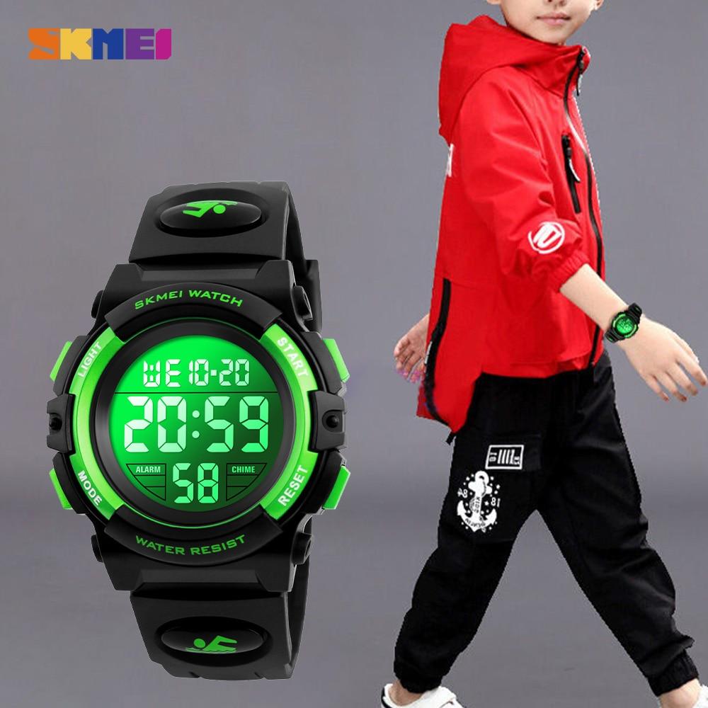 2020 SKMEI Multifunctional Chronograph Sport Watches Children LED Digital Watch 5Bar Waterproof Kids Wristwatches For Boys Girls