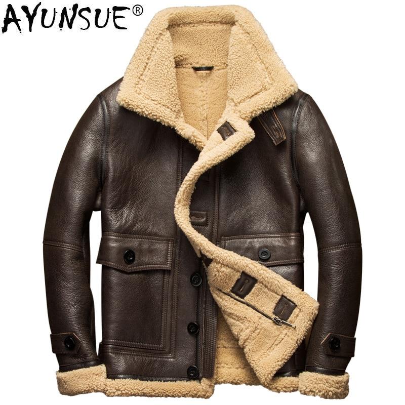 AYUNSUE-سترة جلدية شتوية للرجال ، معطف فرو طبيعي دافئ ، جلد الغنم ، سترة طيران ، جودة عالية ، 7107-1