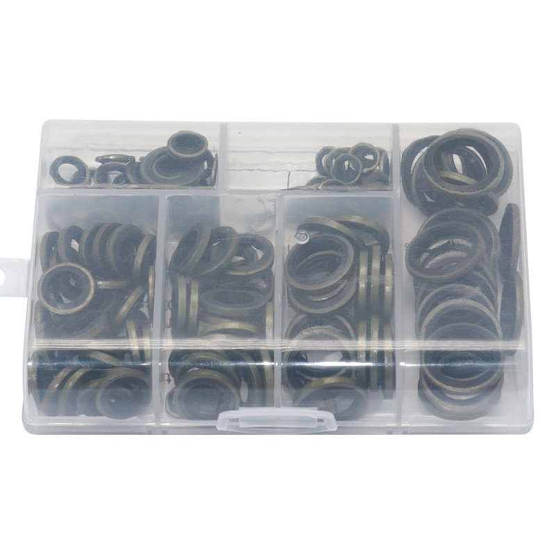 150pcs High Press Hydralic Rubber Oil Pipe Seal Gasket NBR Metal Seal Ring Assortment Kits