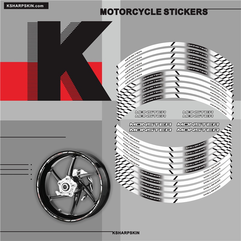 Moto rcycle Styling rueda Hub Etiqueta de Neumáticos Accesorios de coche de moto pegatina decorativa de rayas para DUCATI MONSTER 696 821 796