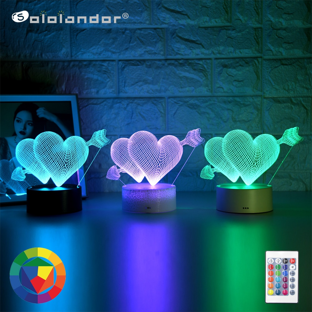 Kid Light Night 3D LED Night Light Creative Table Bedside Lamp One arrow through the heart light Kids Gril Home Decoration Gift kids light night 3d led night light creative table bedside lamp unicorn light kids home decoration toys gift 3d led lamp 7 color