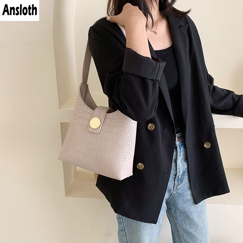 Ansloth Stone Pattern Bag Women Shoulder Bag Tote Bag Female Handbag Large Capacity Top-handle Bag Luxury Designer Bag PU HPS841