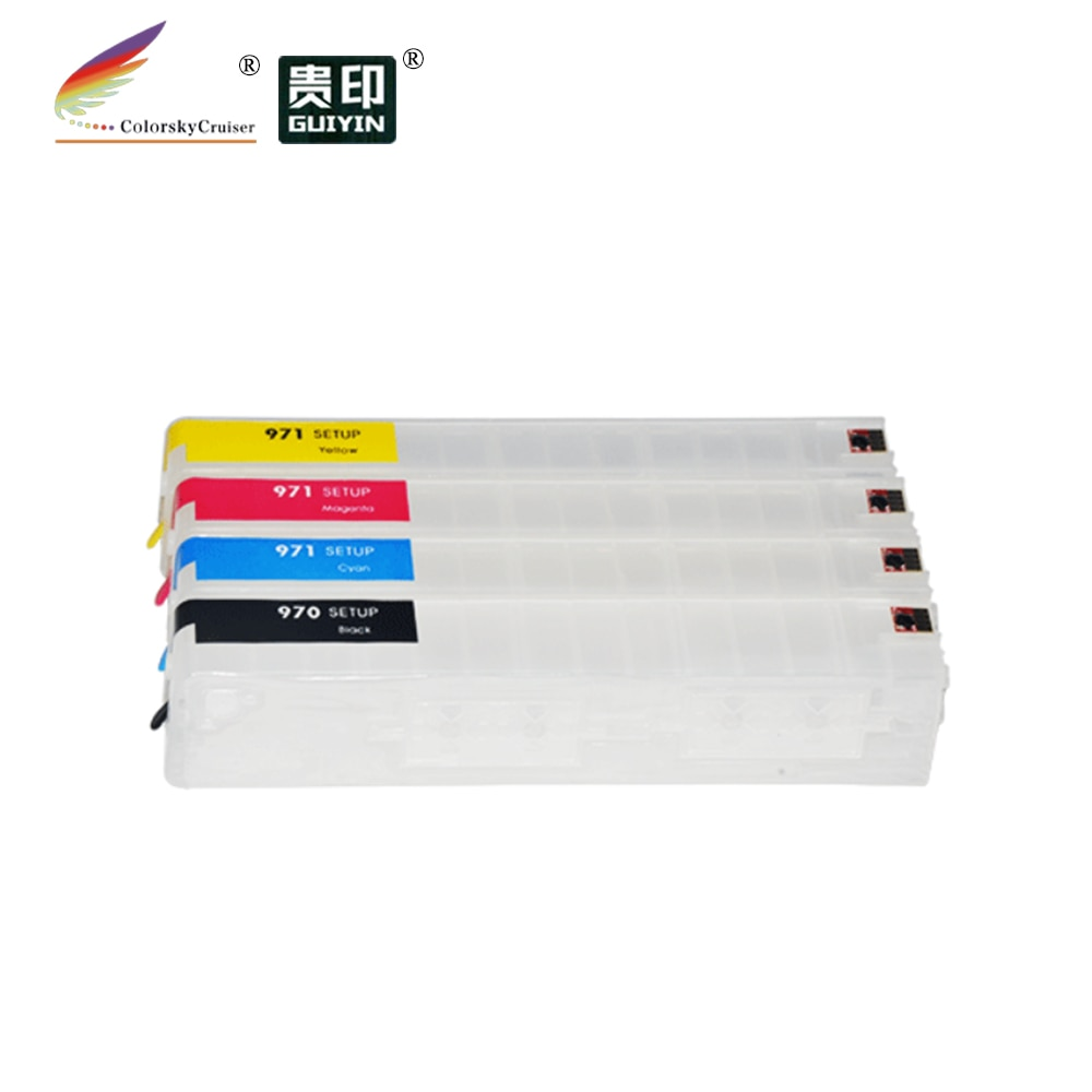 (RCH971XL) rellenable repuesto tinta cartucho de inyección de tinta para HP 970XL 971XL Officejet Pro X451 X476 X551 X576 KCMY