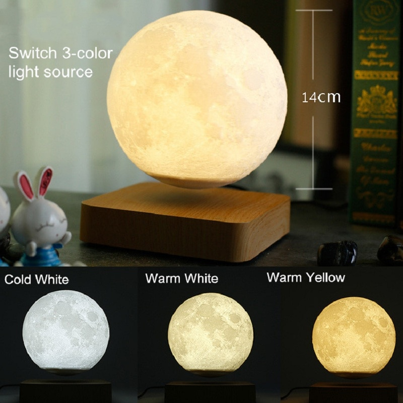 Creative 3D magnetic lights, Saturn, night lights, rotating LED moon, floating lights, home decor, living room and bedroom enlarge