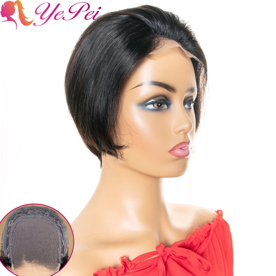 Pixie Cut Wig 4x4 Bob Lace Closure Wig Brazilian Straight Human Hair Wigs 130% Density Remy Short Hu