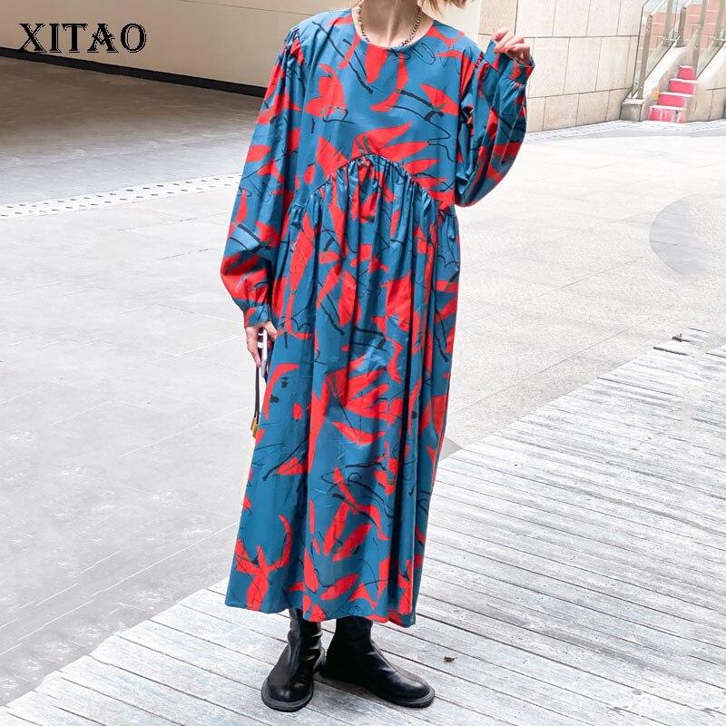 فستان XITAO هونغ كونغ مطبوع خريف جديد برقبة دائرية وأكمام طويلة بألوان متباينة مرقع بطيات مقاس كبير فضفاض غير رسمي WMD3522